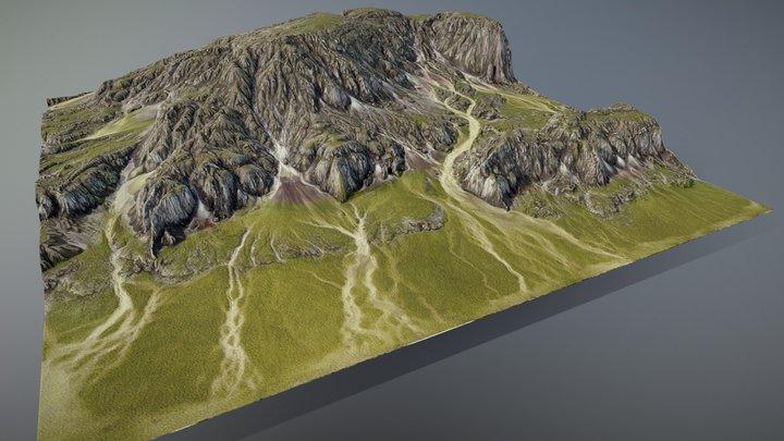 Dried Riverbed Hills 3D Model