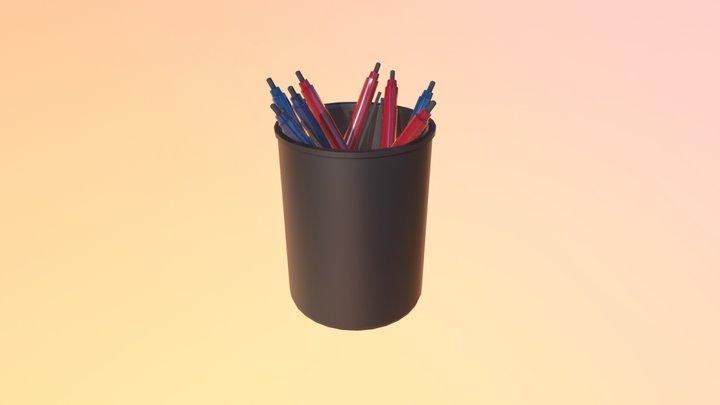Pens in a Cup 3D Model