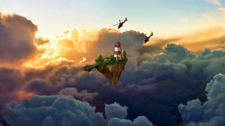 Flying Island.c4d 3D Model