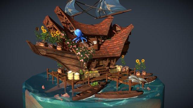 Floating Market 3D Model