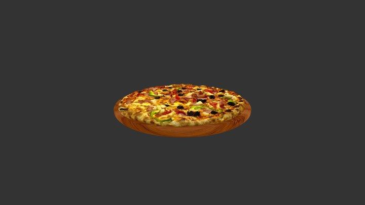 Oliv Pepper Meat Tomato Pizza 3D Model