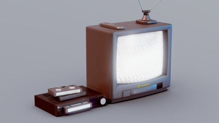 Retro CRT TV With Videoplayer 3D Model