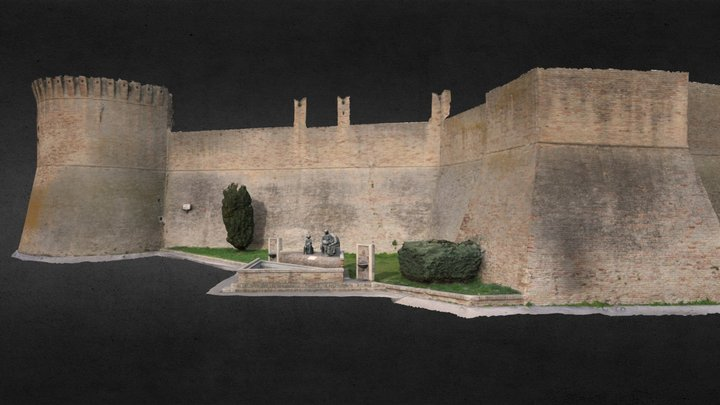 Medieval Wall and Merlettaie Statue 3D Model