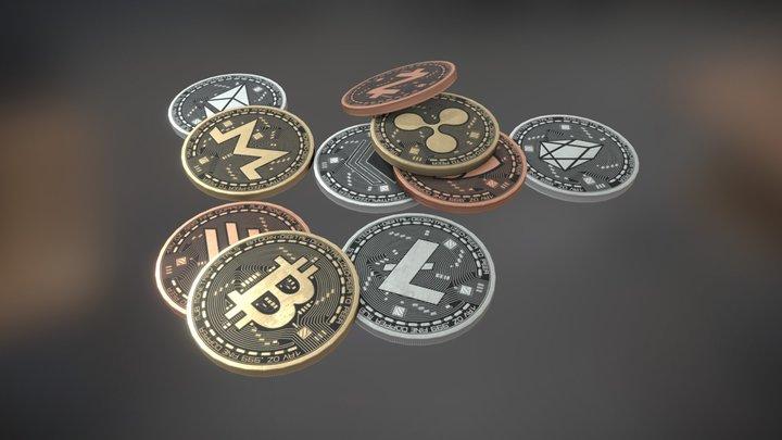 Crypto Coins 3D Model