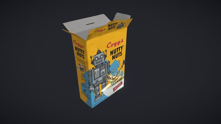 "Cereal Box ""Nutty Nuts"" 3D Model"