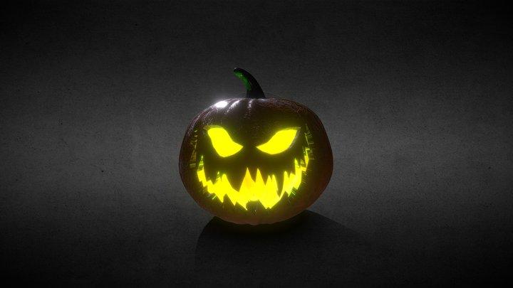 Halloween Jack-o-Lantern Greenish Fire Low Poly 3D Model