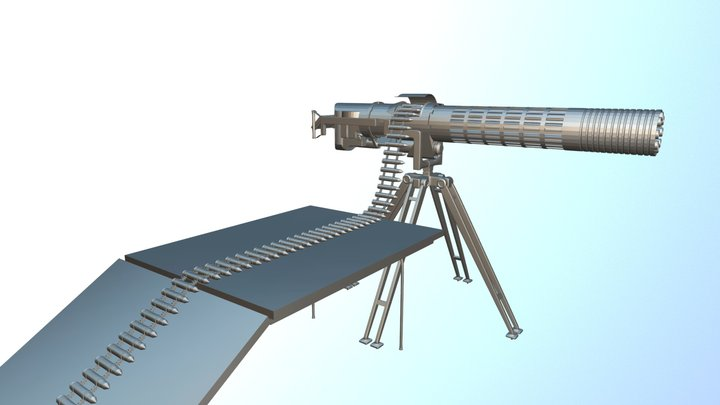 Mounted Chain Gun W.I.P. 3D Model