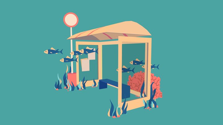 Undersea Bus Stop 3D Model