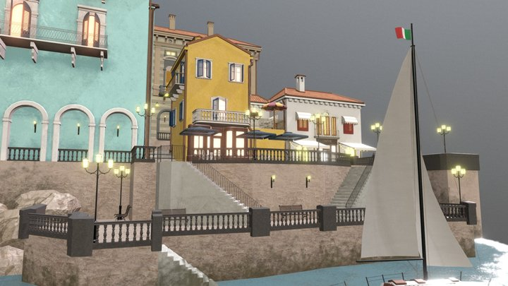 Northern Italy City Scene 3D Model
