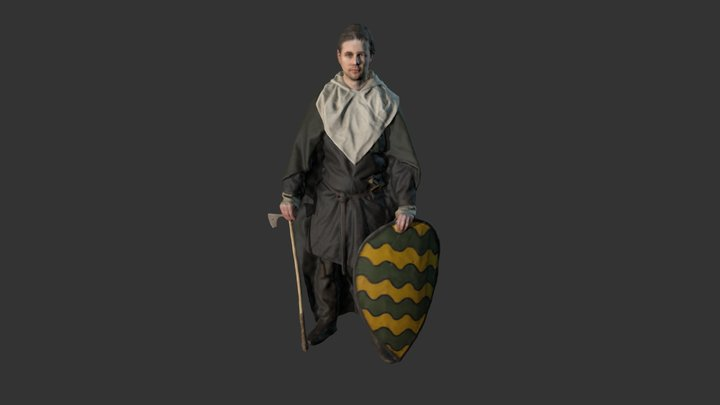 Early medieval warrior 3D Model