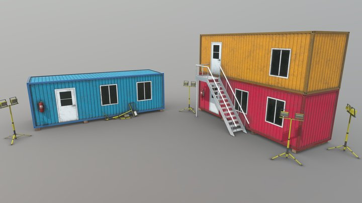 Office Containers With Interior 3D Model