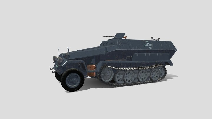 Sd.Kfz. 251 Half-Track PBR 3D Model