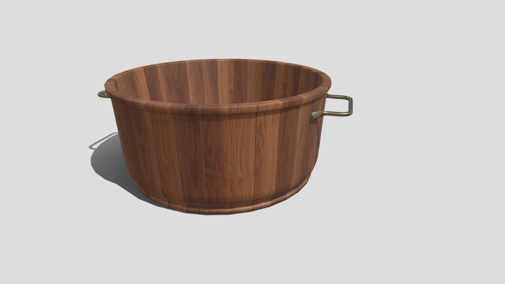 Wooden Bowl With Handles 3D Model