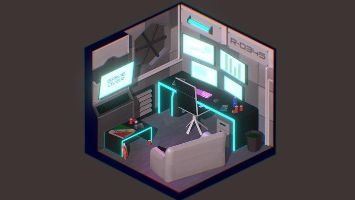 Cyberpunk Room Cubicle 3D Model