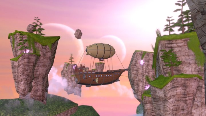 Interdimensional Floating Islands 3D Model