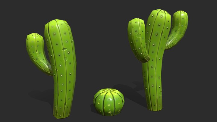 Cartoon Cactus Pack 3D Model