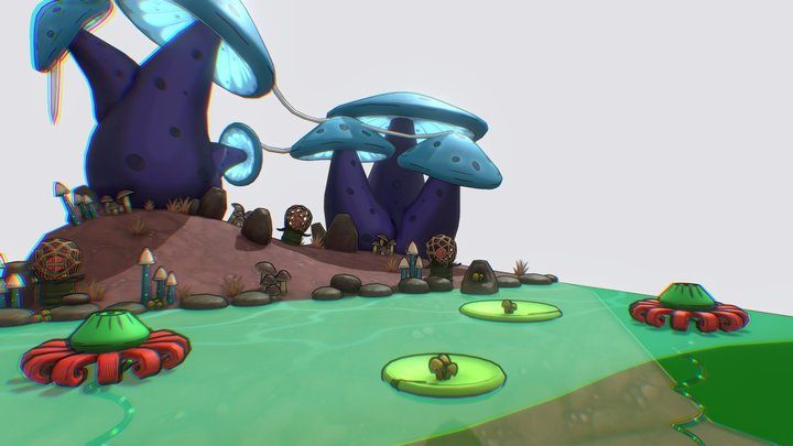 Mushroom Planet 3D Model