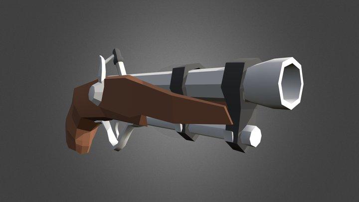 Low poly pirate blunderbuss (gun) 3D Model
