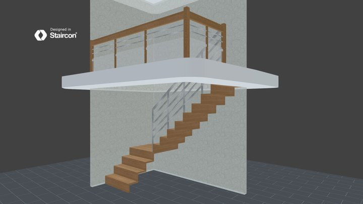 Waterfall stair with Stainless steel and glass 3D Model