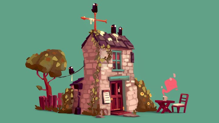 Painterly Cottage 3D Model