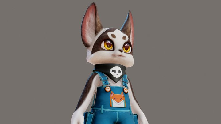 Vico the Marble Fox 3D Model