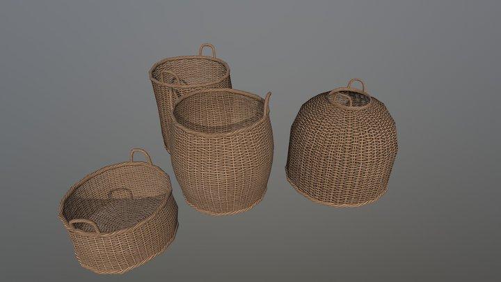 Wicker Basket Pack 3D Model