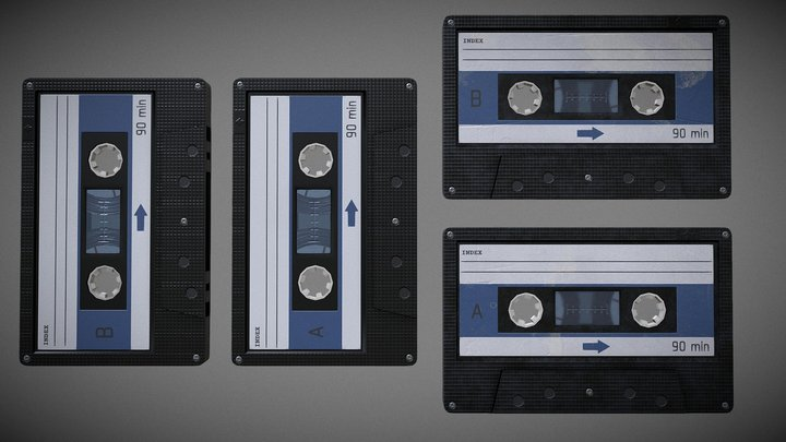 Audio Cassette PBR Low Poly 3D Model