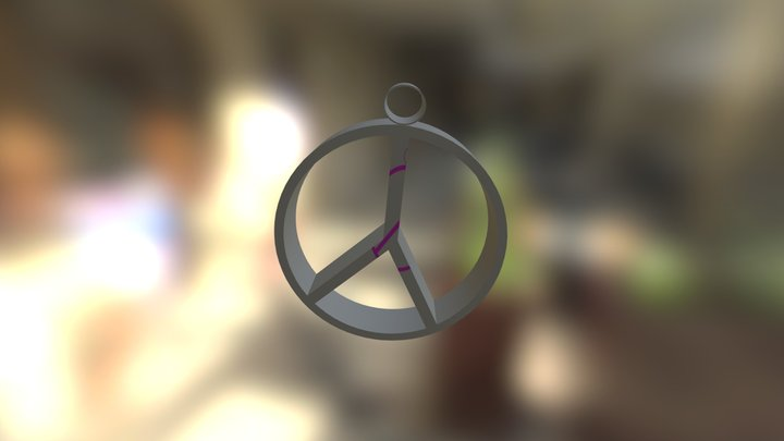 peace sign keychain 3D Model