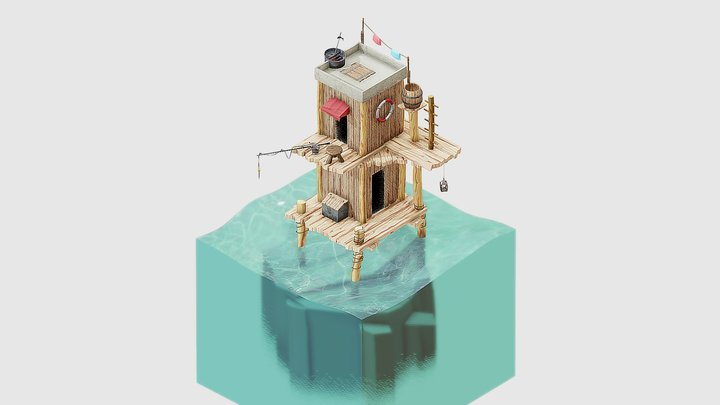 Shack on the Water 3D Model