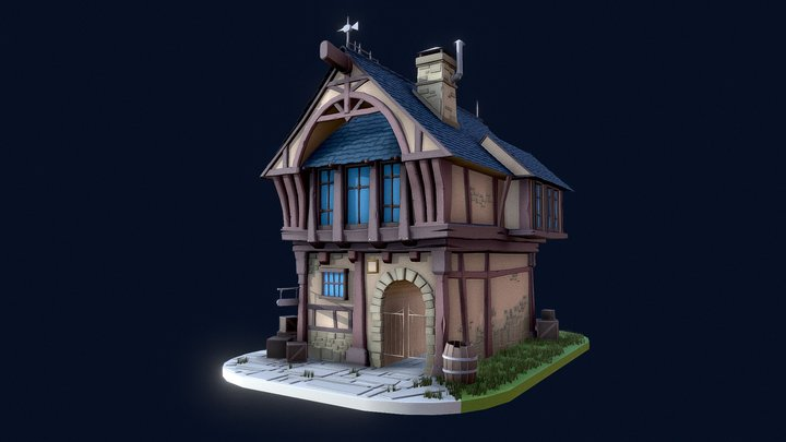 Medieval House Low Poly (For Gamedev) 3D Model