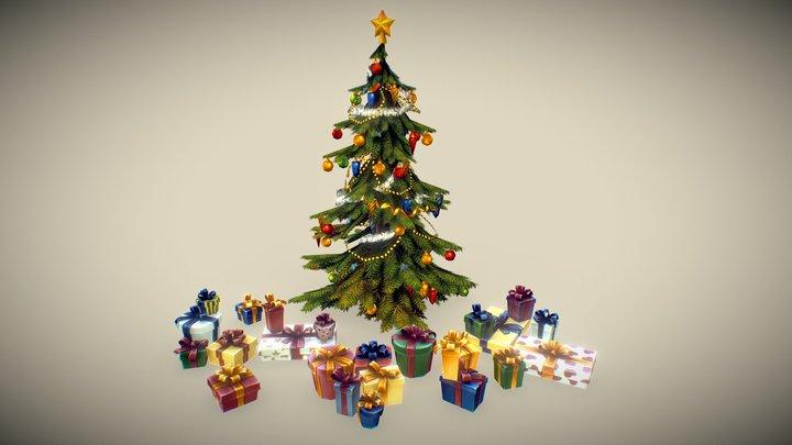 Christmas Tree Set - Hand Painted 3D Model