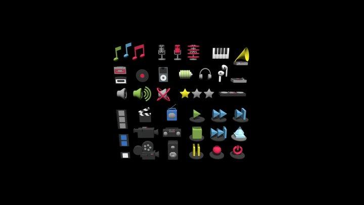 3D icons for media 3D Model