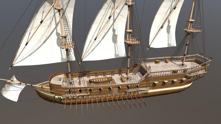 Galley Ship 3D Model
