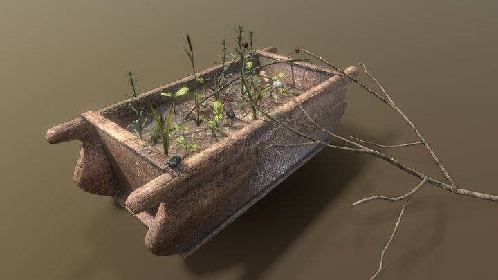 Old Garden Washtub Ecosystem / Asset Pack 3D Model