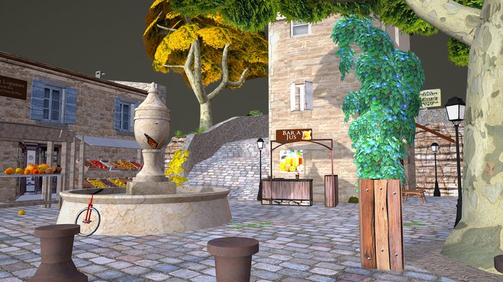 CityScene_Gordes 3D Model
