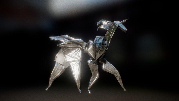 Origami Unicorn 3D Model