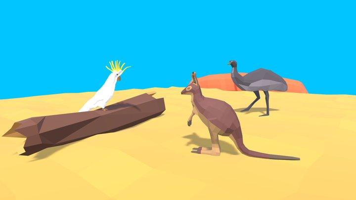 Low Poly Australian Native Animals 3D Model