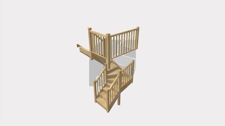 6 Kite Oak Staircase 3D Model