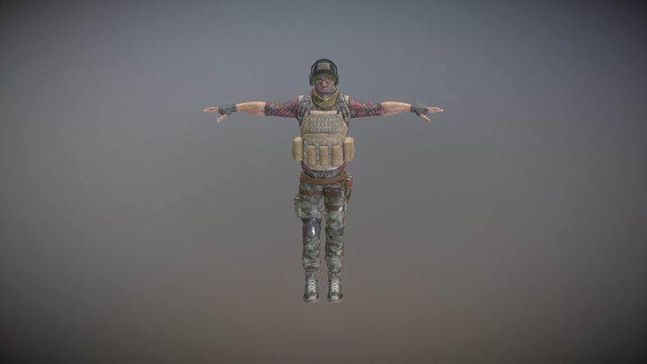 Rigged Mercenary A 3D Model