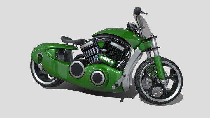 Green Motorbike Concept 3D Model