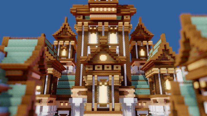 Fantasy Minecraft Castle WIP 3D Model