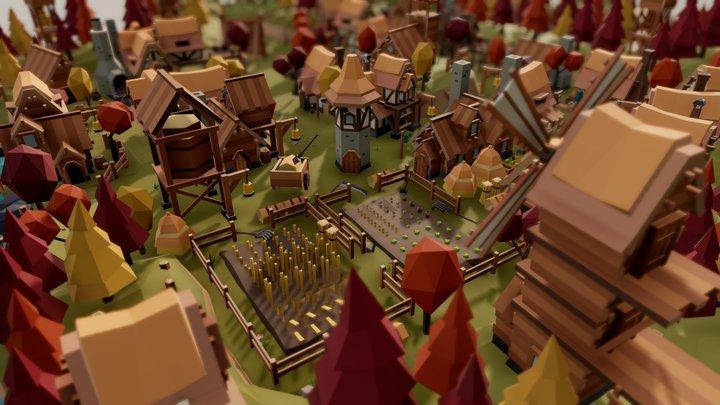 "Fantasy Village  ""Autumn"" 3D Model"