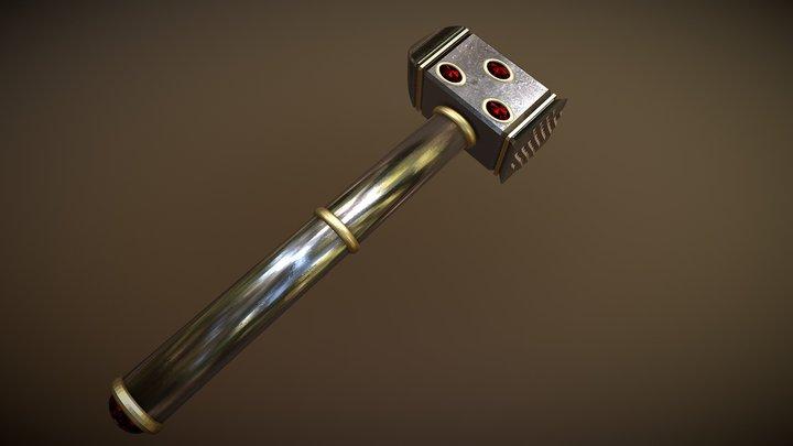 Dwarven One-Handed Warhammer 3D Model