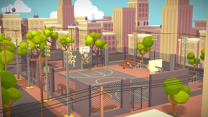 🏀Basketball playground game asset lowpoly city 3D Model