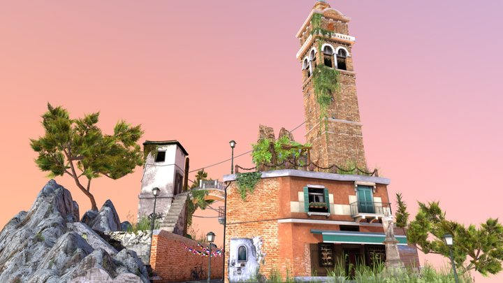 Italian Cityscene 3D Low Poly 3D Model