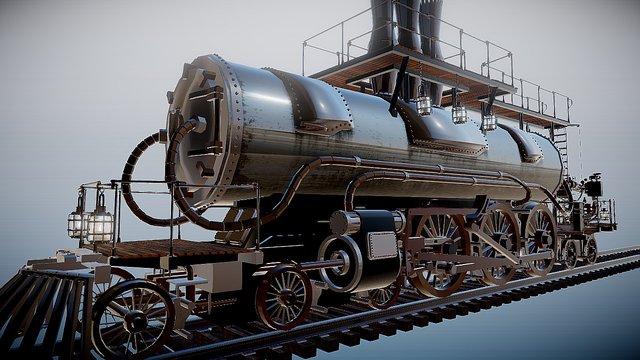 Steampunk Locomotive [Animation] 3D Model