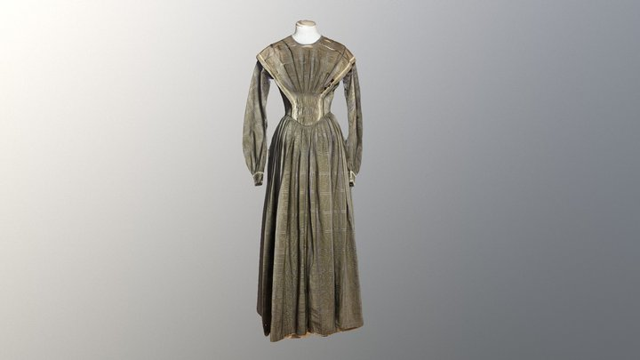 1840s Maternity Dress 3D Model