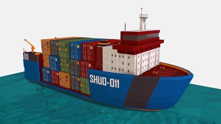 isometric Heavy Lift Vessel Big Boat 3D Model