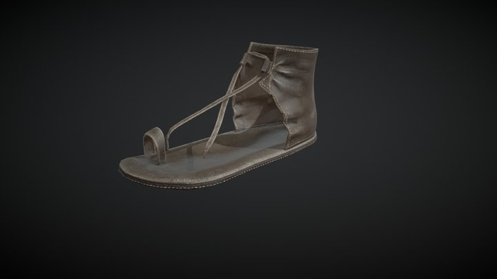 Used leather sandal (Mayan era) 3D Model