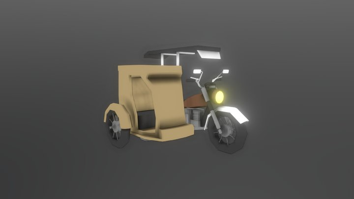 Lowpoly Traysikel/Tricycle 3D Model